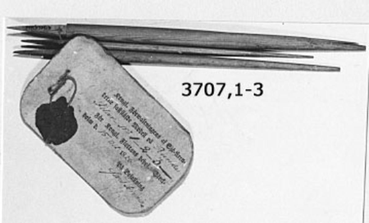Fil, rund. Modell av trä med vidhängande fastställelsebricka. Sigill fastställd den 15 okt 1828