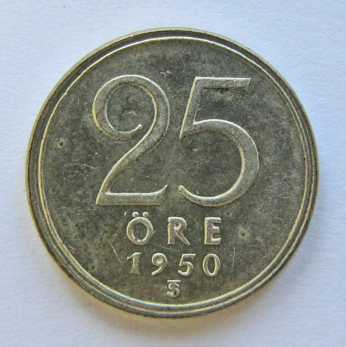 Gustav V, 25 öre, silvermynt. Präglat i Stockholm 1950.