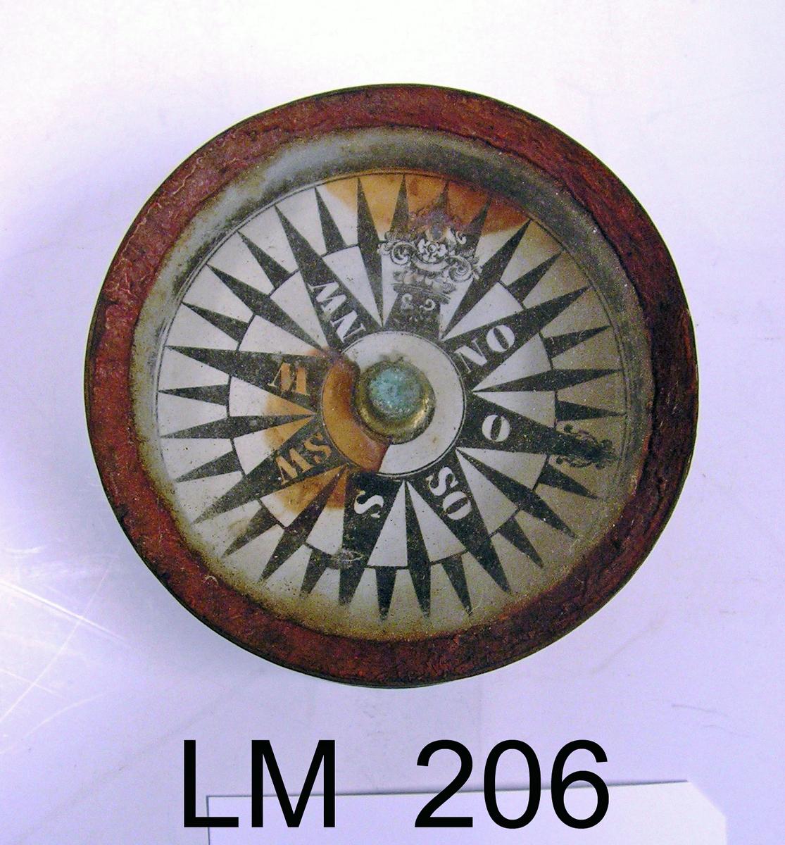 Form:  Sirkulær  Skipskompass  ( luftkompass ) - brukt ved navigasjon.