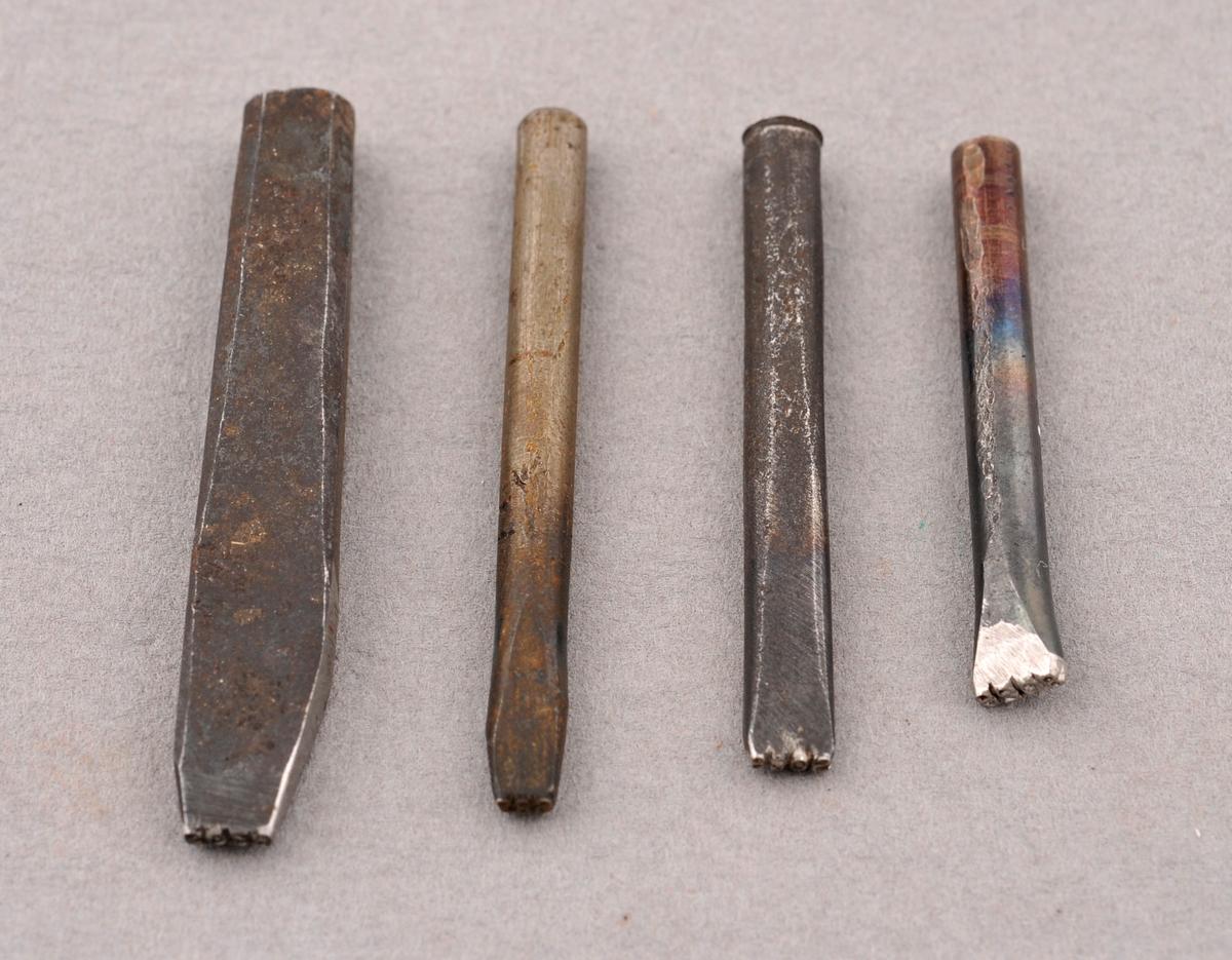 Stempel i metall.