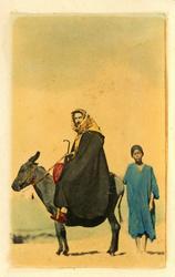 Un homme qui sort a baudet  Man på åsna.  Handkollorerat fot