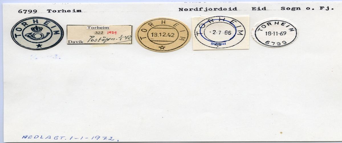 Stempelkatalog 6799 Torheim, Eid, Sogn og Fjordane