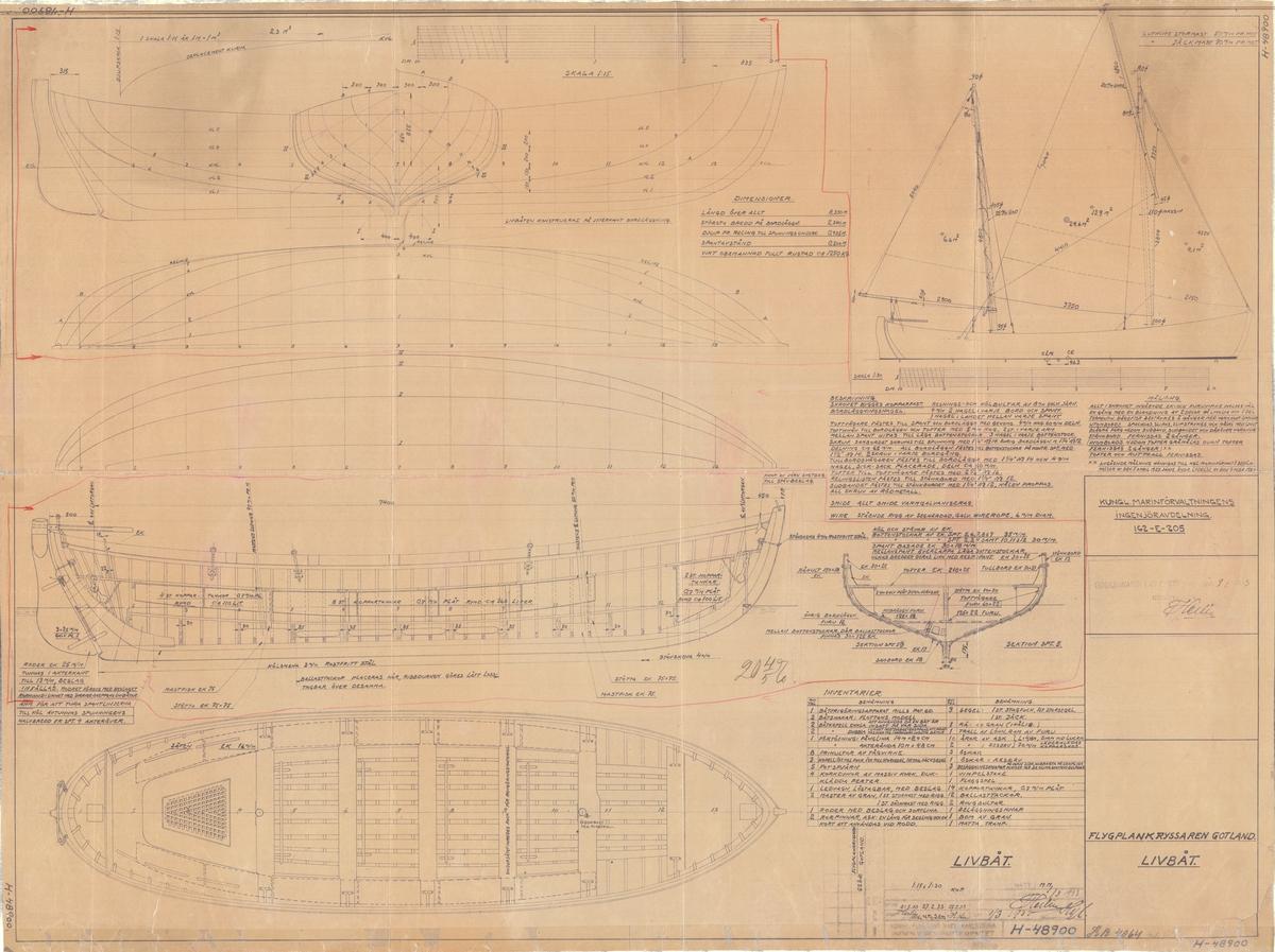 Plan, profil, spant och segelritning. Livbåt till fpk Gotland