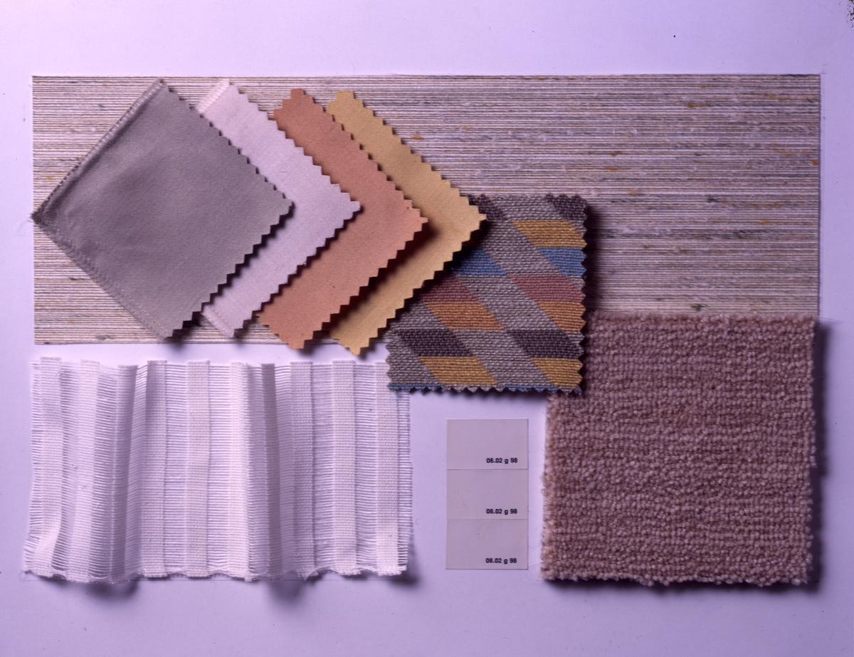 Farge- og materialeforslag til kombinert forstue/TV-stue. Illustrasjonsbilde fra Bonytt 1986.