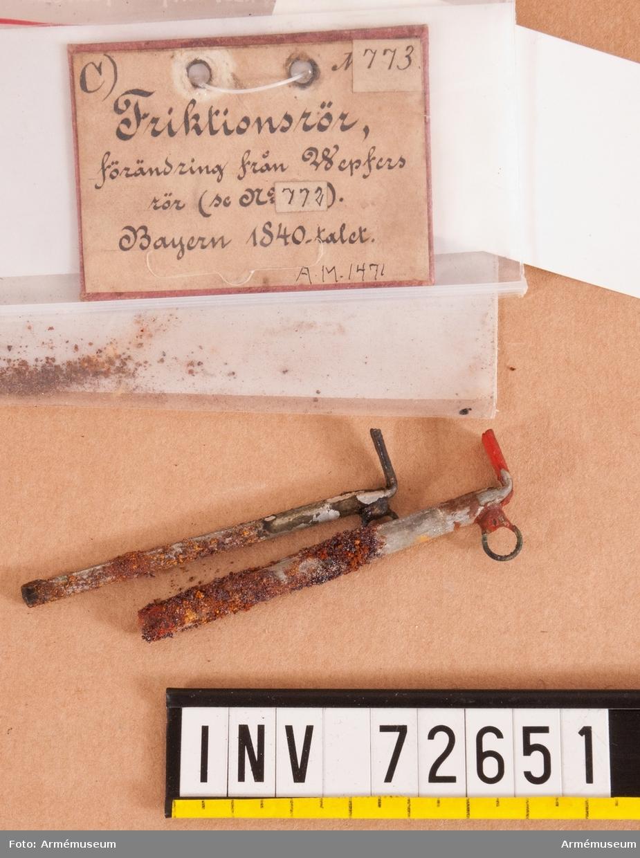 Grupp F II. Friktionsrör för artilleripjäser, förändring av  Wepfer´s konstruktion, Bayern 1840-tal.