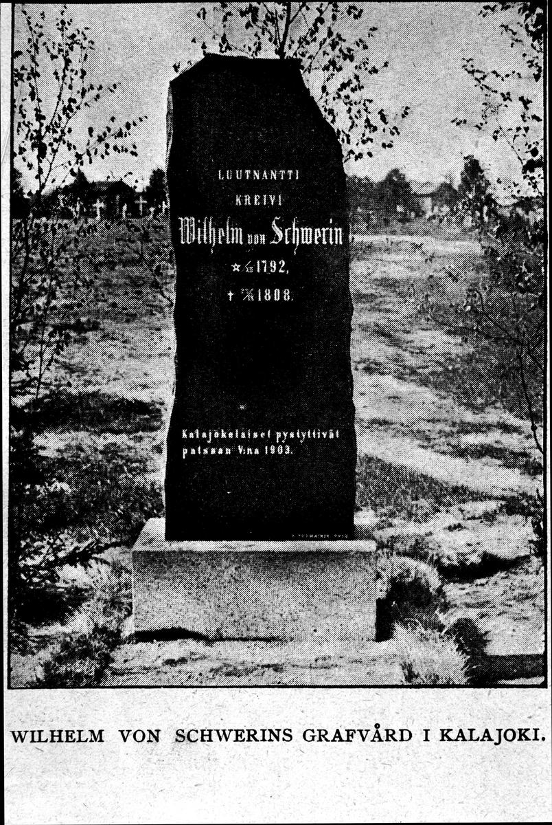 Wilhelm von Schwerins gravvård. Reproduktion av KJ Österberg.