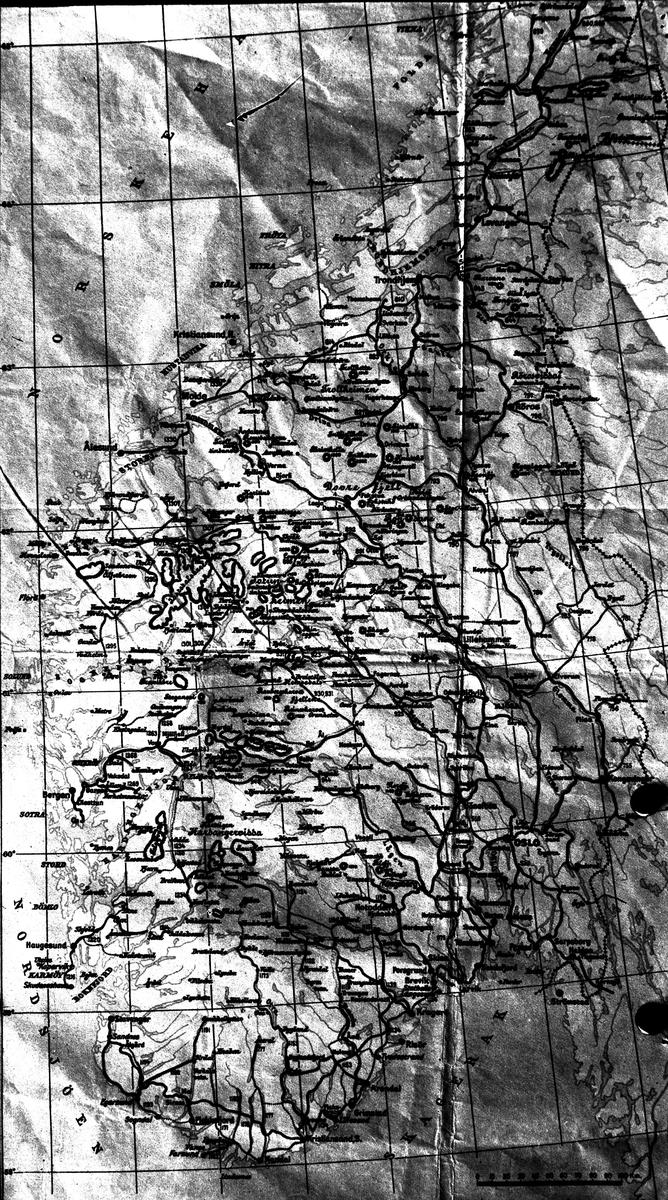 Karta över Norges södra del.  Reproduktion av KJ Österberg.