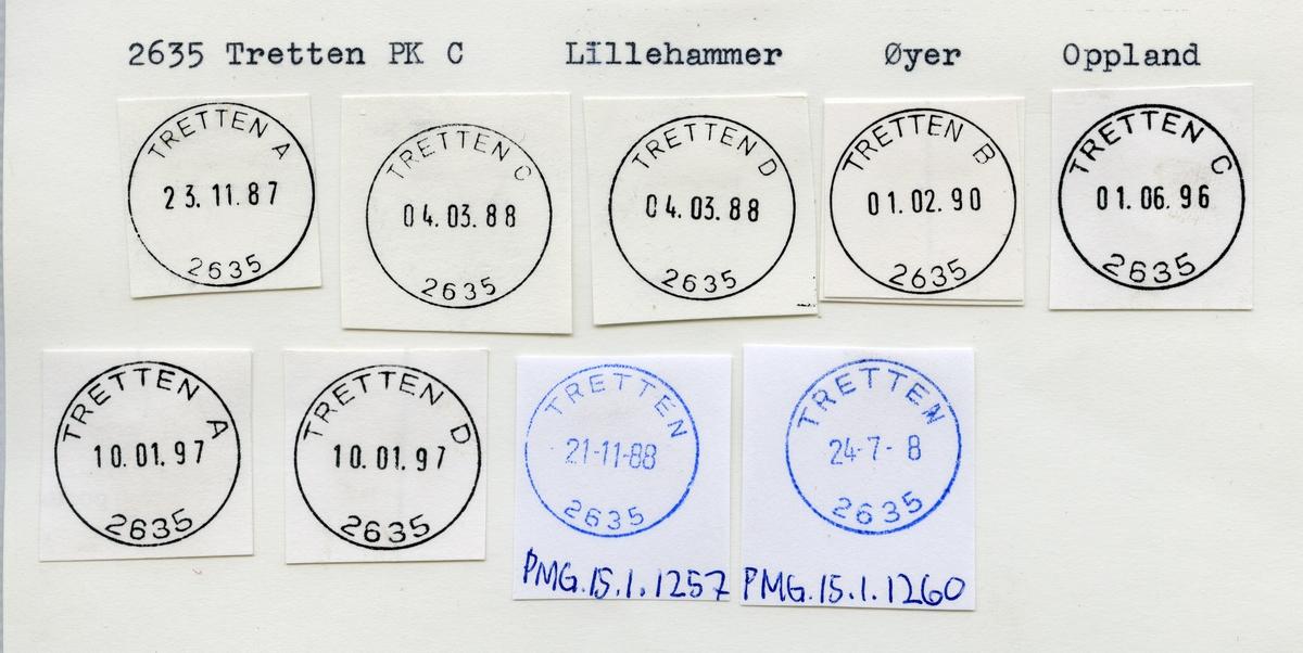 Stempelkatalog 2635 Tretten, Lillehammer, Øyer, Oppland