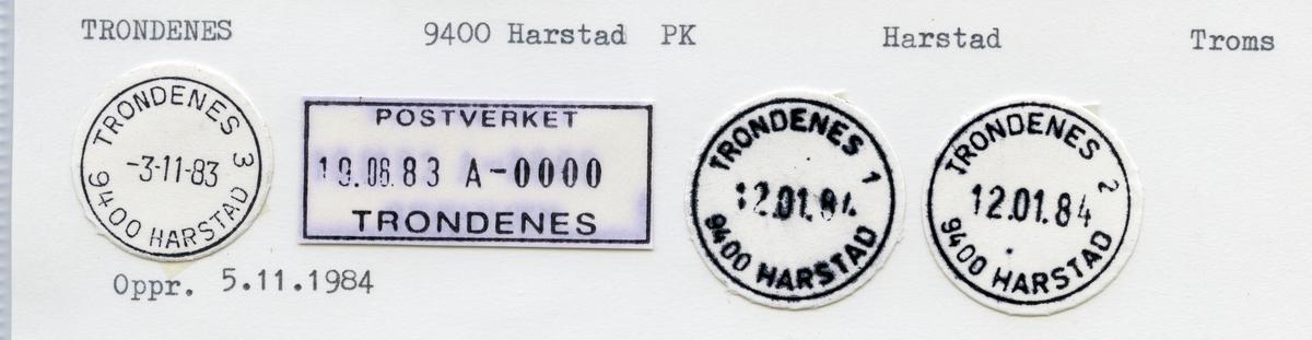 Stempelkatalog Trondenes, Harstad, Troms