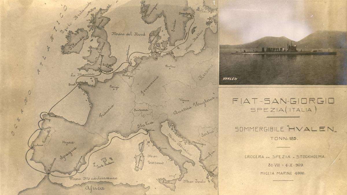Karta över ubåten HVALENs reserutt till Sverige från italienska varvet Fiat-San Giorgio i Spezia år 1909.
