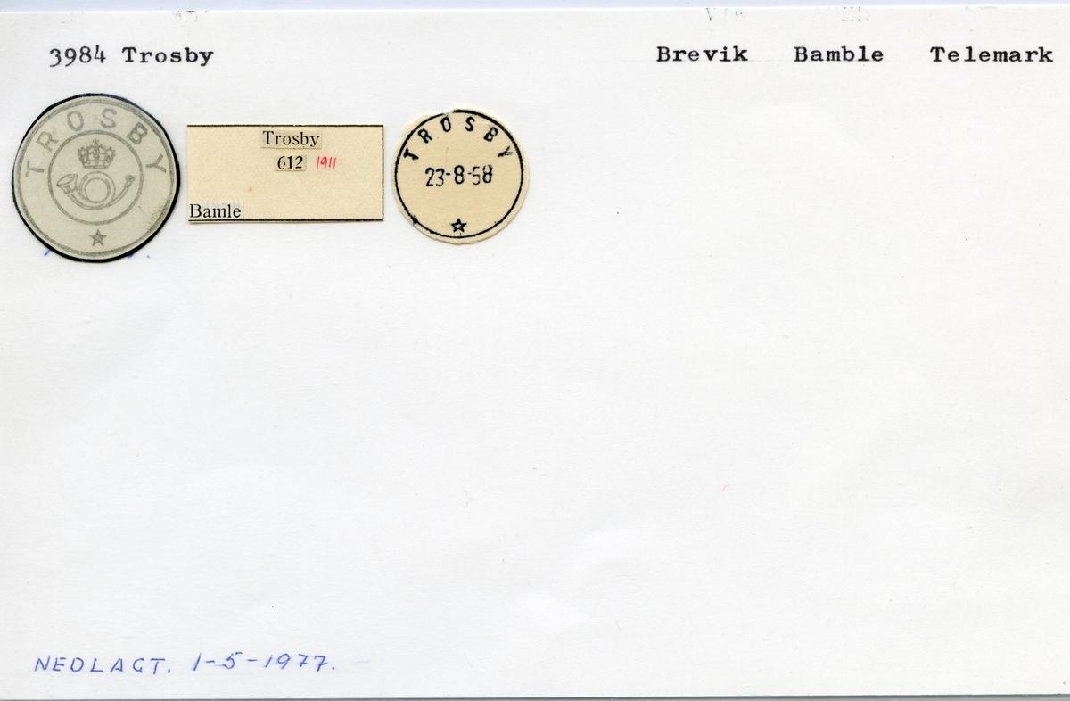 Stempelkatalog 3984 Trosby, Brevik, Bamle, Telemark