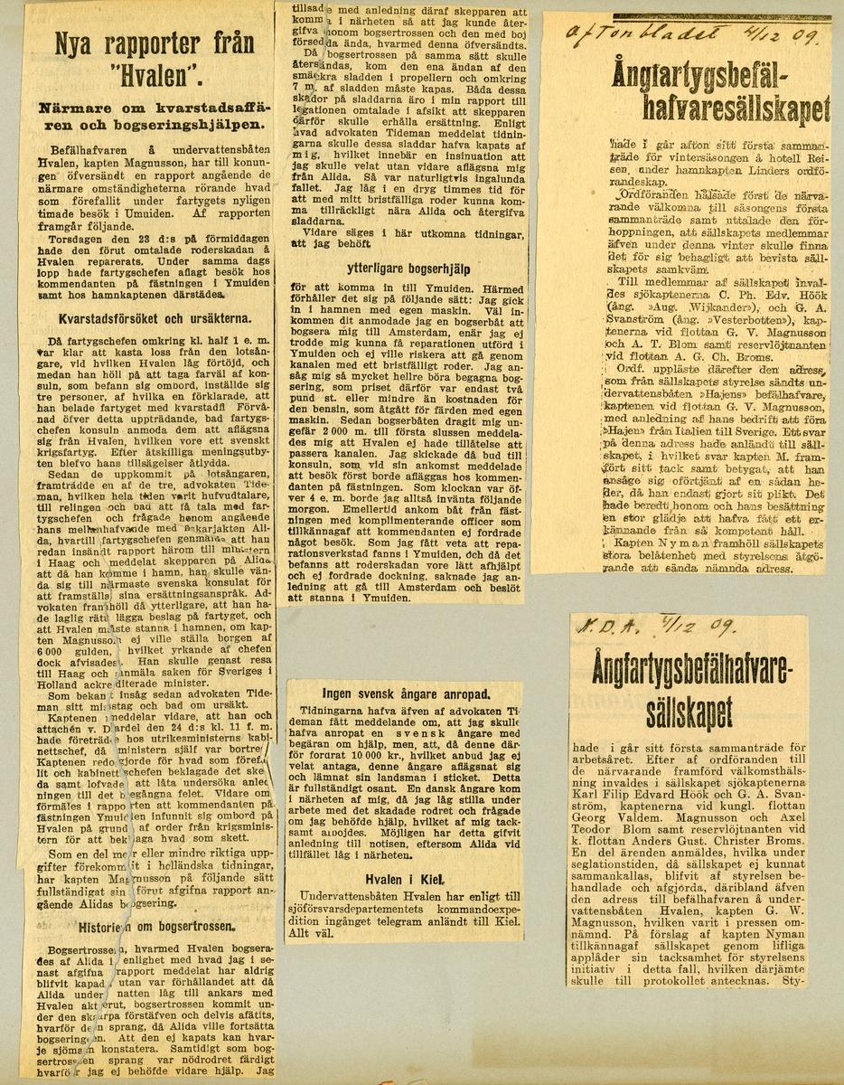 Tidningsurklipp om ubåten HVALENs hemfärd till Sverige från Italien.
