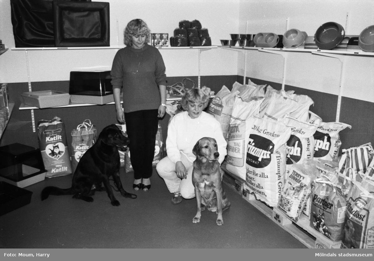 """Annika Borg och Eva Nordin i deras nyöppnade hundbutik i Våmmedal, Kållered, år 1983. """"Kålleredstjejerna Annika och Eva tillsammans med två goda vänner i den nyöppnade hundbutiken.""""  För mer information om bilden se under tilläggsinformation."""