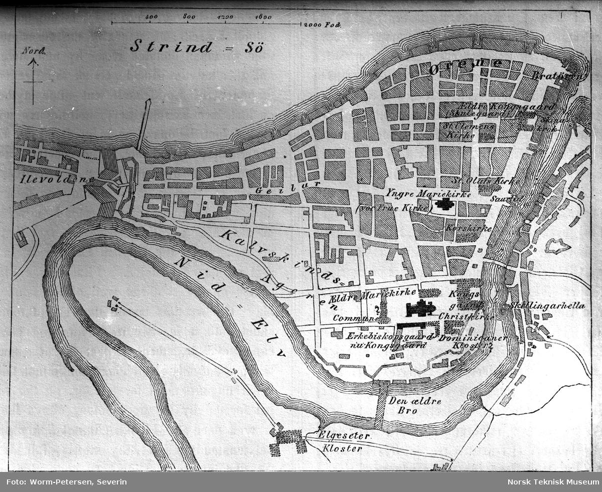 historiske kart trondheim Gammelt kart over Trondheim i historisk tid   Norsk Teknisk Museum  historiske kart trondheim