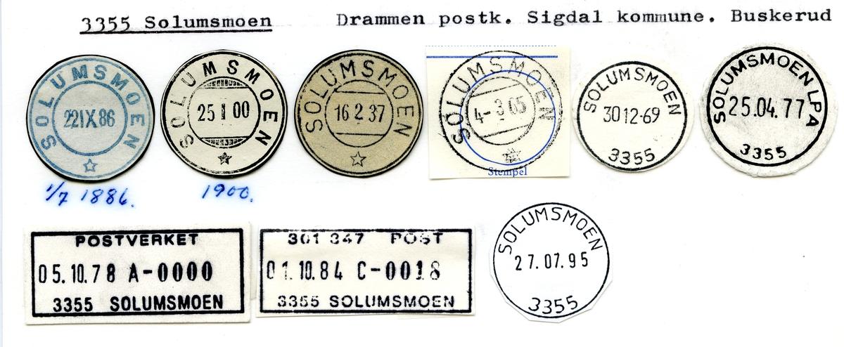 Stempelkatalog  3355 Solumsmoen, Sigdal kommune, Buskerud