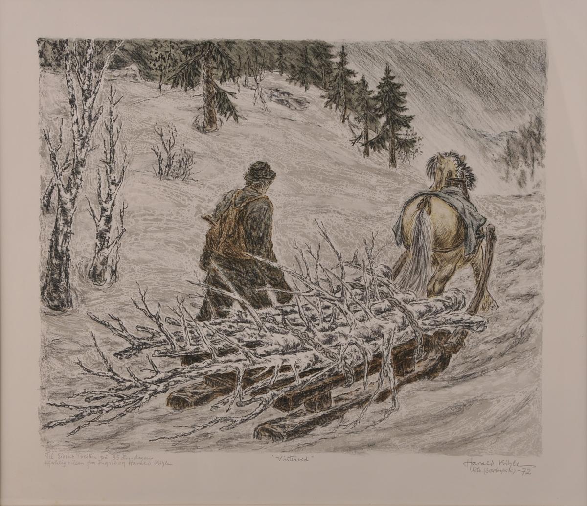 Vinterlandskap; hest med slede som køyrer ved og ein mann som går ved sidan av.