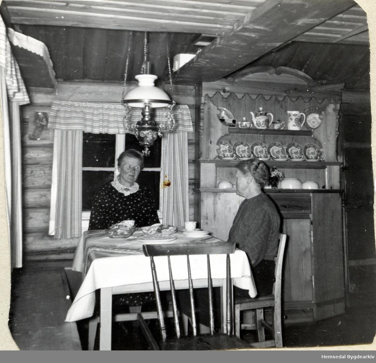Ingebjørg Eikrehagen (1895-1965) og Anne Rese frå Gol. Her på Resavollen ved Lauvsjø, ca. 1960.