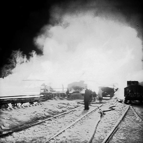 Branden i pappersmagasinet i Ställdalen (februari 1956).