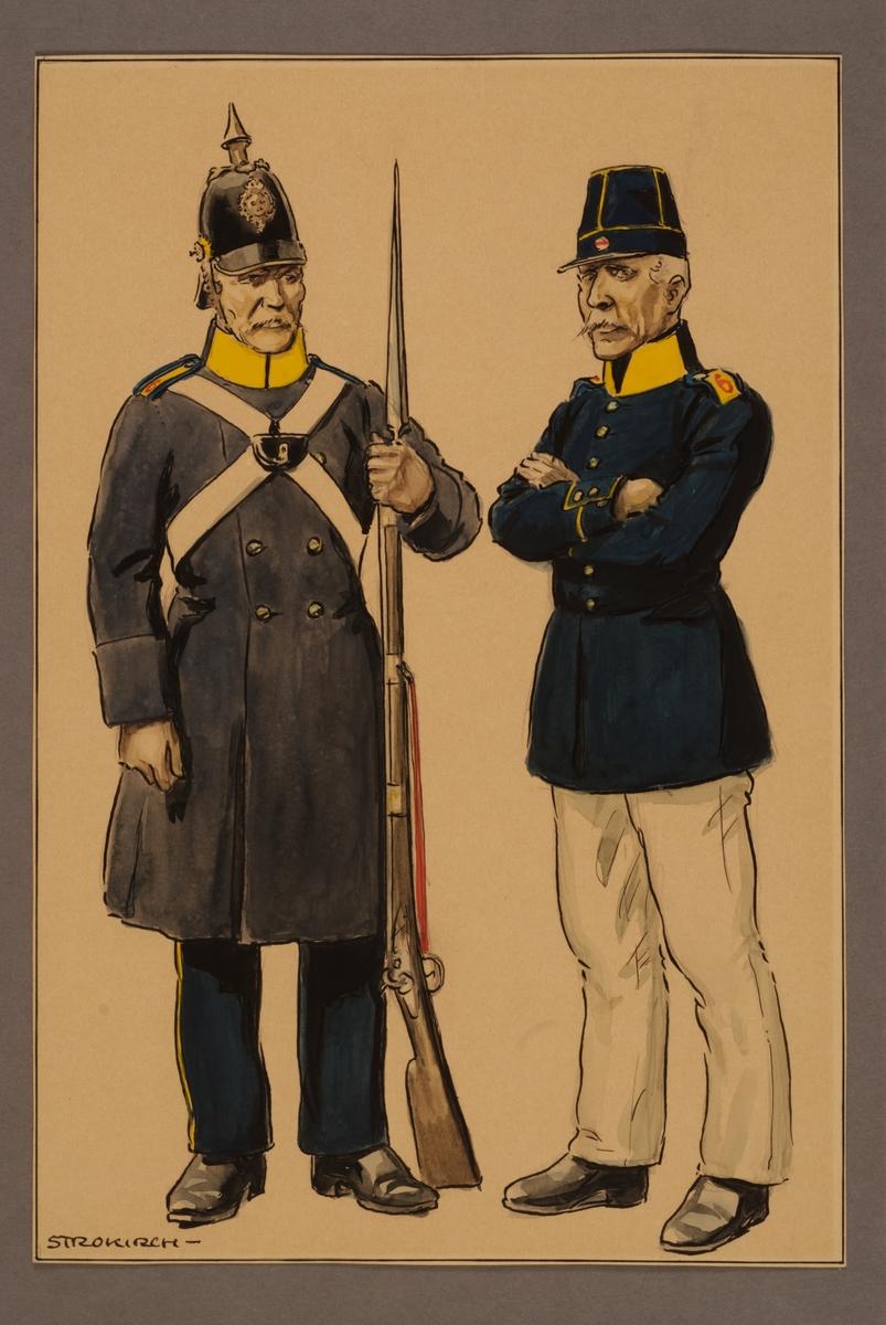Plansch med uniform för meniga vid Västgöta regemente 1845, ritad av Einar von Strokirch.