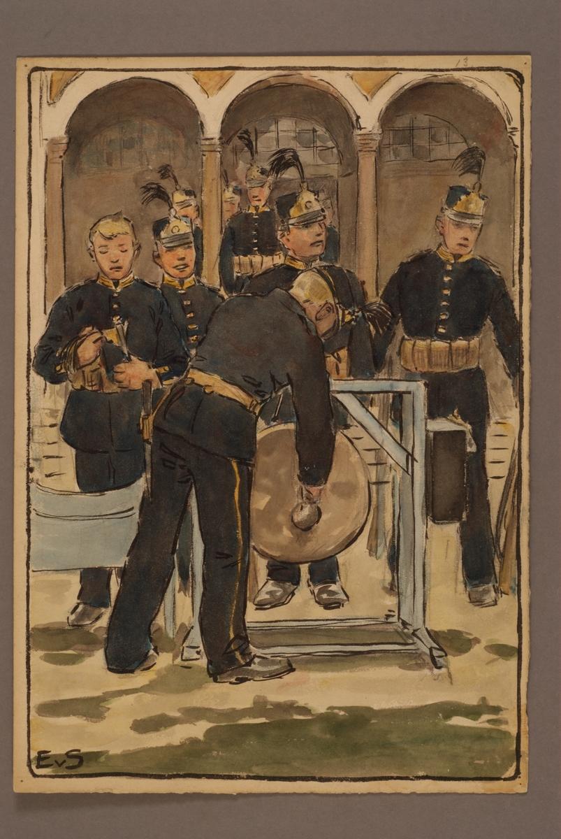 Plansch med uniform för infanteri, ritad av Einar von Strokirch.