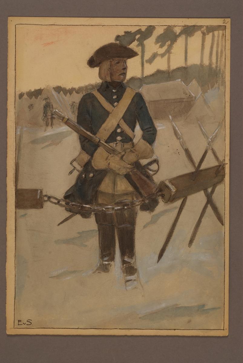 Plansch med uniform för kavalleri, ritad av Einar von Strokirch.