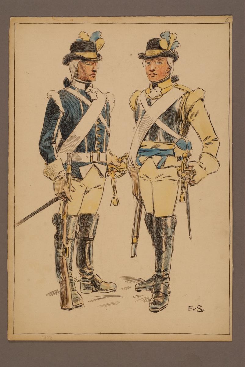 Plansch med uniform för Livregementet till häst, ritad av Einar von Strokirch.