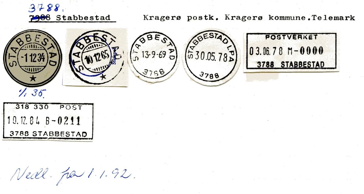 Stempelkatalog  3788 Stabbestad, Kragerø kommune, Telemark