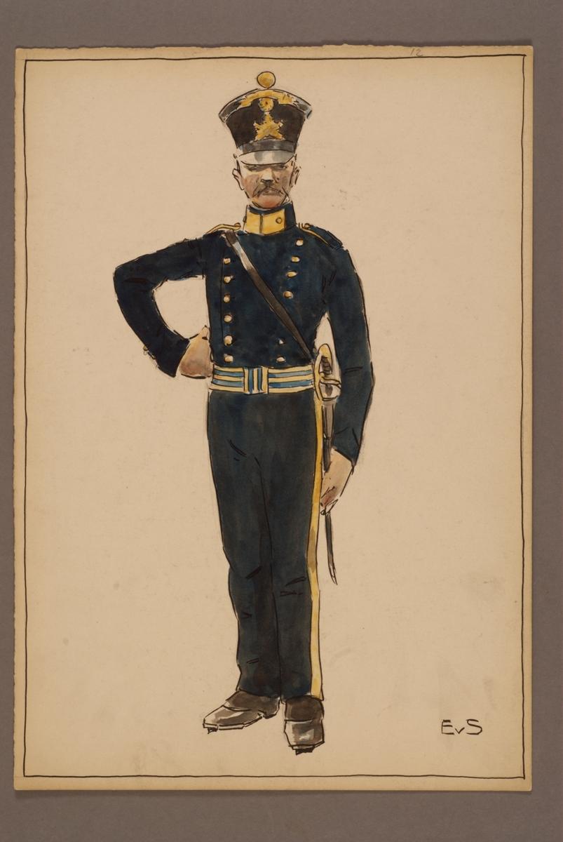 Plansch med uniform för tygstatskompaniet vid Svea regemente, ritad av Einar von Strokirch.