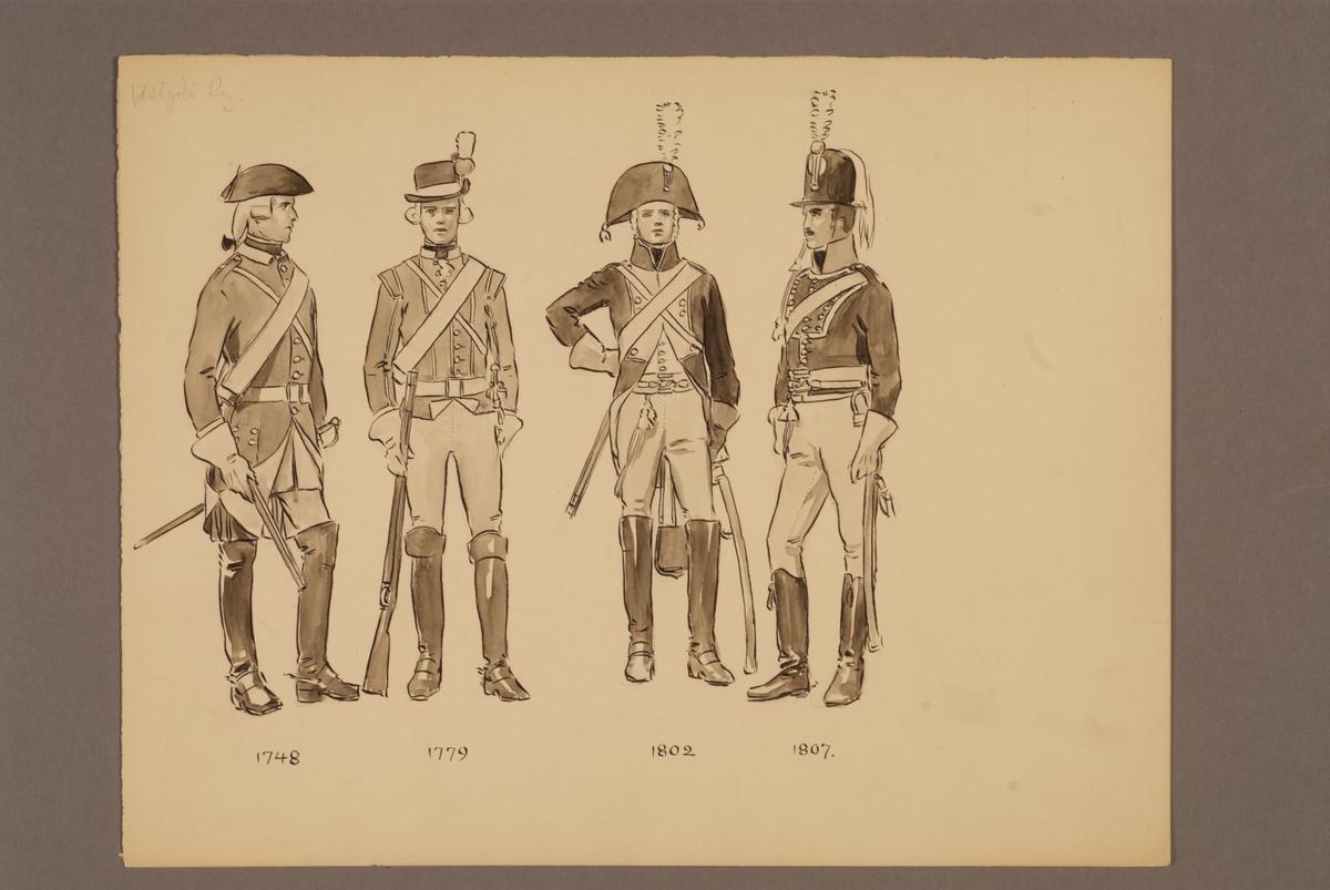 Plansch med uniform för Västgöta regemente för åren 1748-1807, ritad av Einar von Strokirch.
