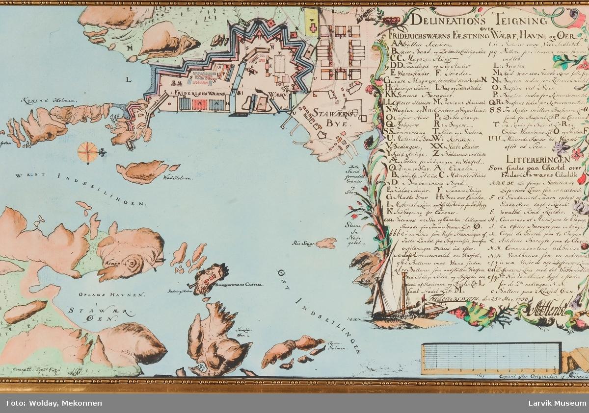 Fredriksværn festning, verft, havn, by og øyer.