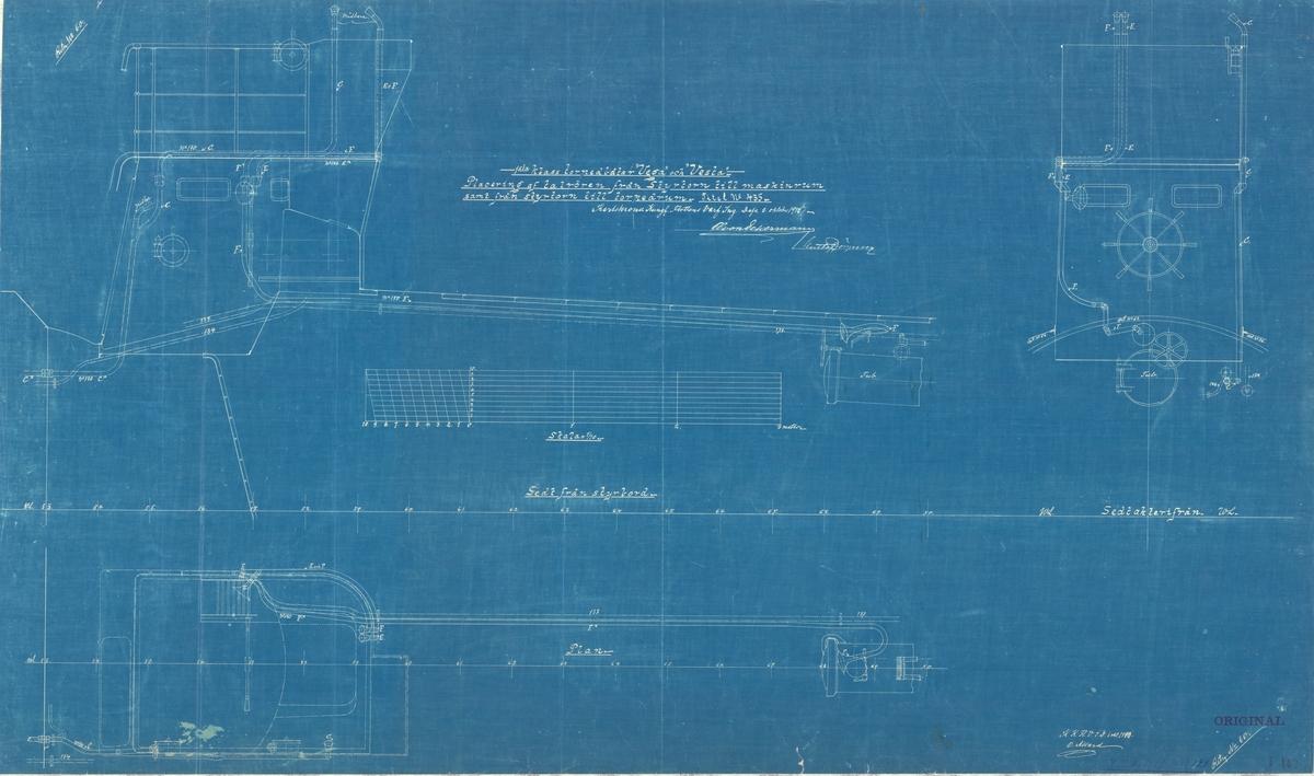 Sammanställningsritning av placering av talrör från styrtorn till maskinrum samt från styrtorn till torpedrum.