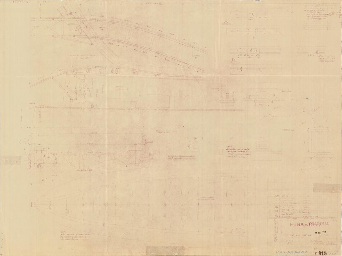 Detaljritning på minbanor, profil och plan av huvuddäck
