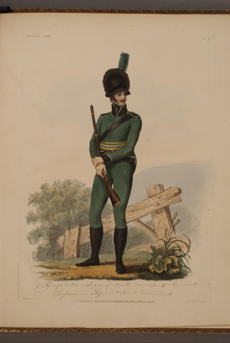 Plansch med uniform för jägare vid Närke-Värmlands regemente, ritad av Frederic Eben i boken The Swedish Army, utgiven 1808.