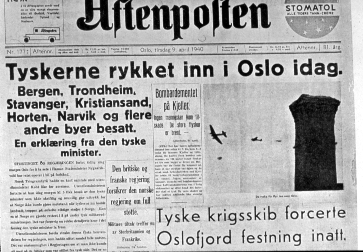 Fra Aftenposten 9.april 1940