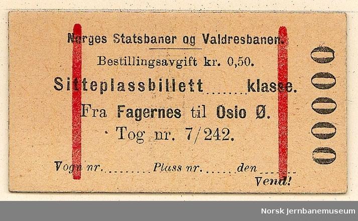 Sitteplassbillett fra Fagernes til Oslo Ø