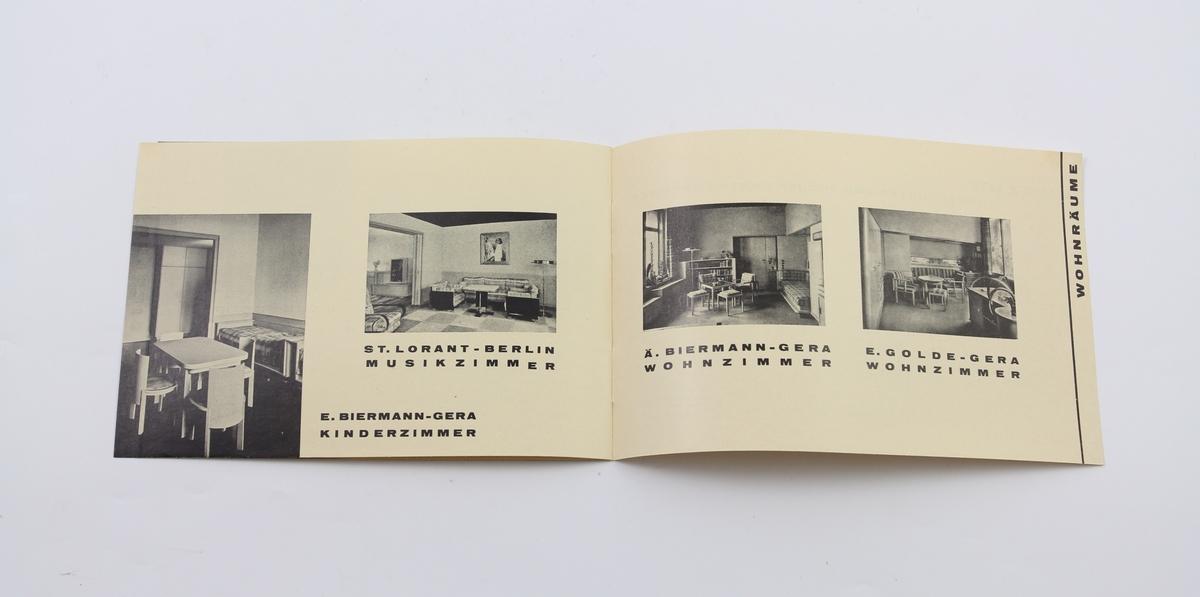 5 ulike dokumenter. Ett informasjon eller reklame ark for verksted. Ett utstillingshefte inneholder foto av flere bygg. Tre dokumentmaler med kontaktinformasjon og lignende, med plass for ytterligere tekst.