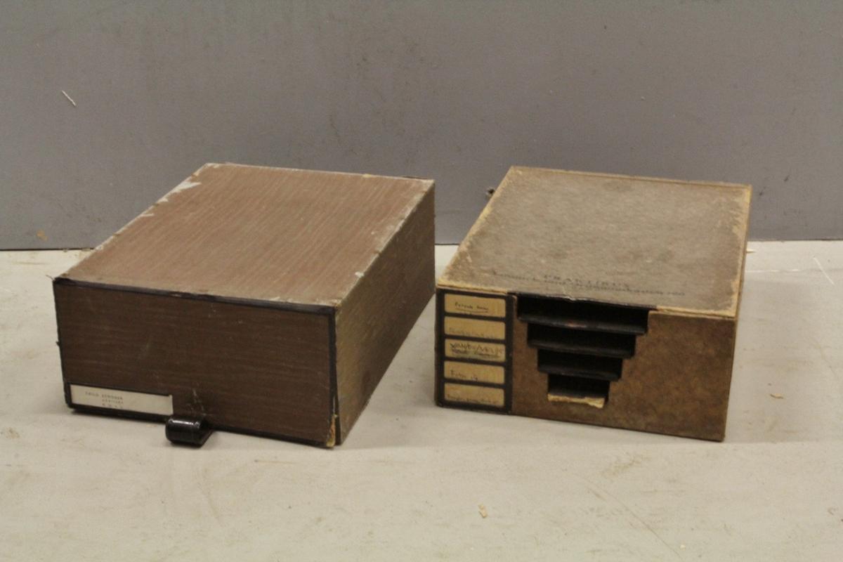 To esker til dokumentoppbevaring. Rektangulære kuber av papp. I den ene (a) løftes en kortside opp og en ny ekse trekkes ut der dokumentene plasseres. I den andre (b) løftes en langside opp som et lokk, og flere plater horisontalt i esken deler rommet i fem mindre deler. Disse mindre delene gjør sortering av dokumenter mulig og går i flukt med etiketter på utsiden for kategorisering.
