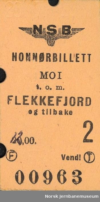 Honnørbileltt Moi t.o.m. Flekkefjord og tilbake, 2 klasse