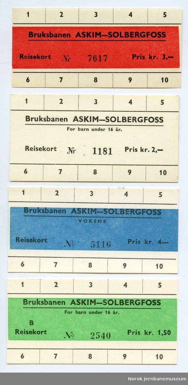 Billettkort fra Bruksbanen Askim-Solbergfoss