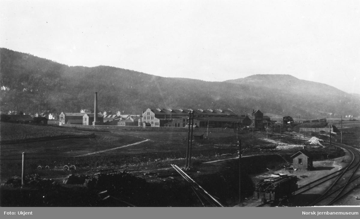 Oversiktsbilde med verkstedet Sundland, sett fra øst