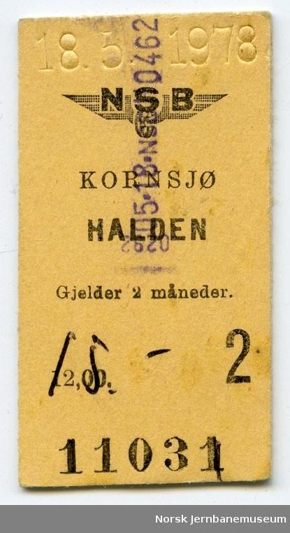 Billett Kornsjø-Halden, 2. klasse