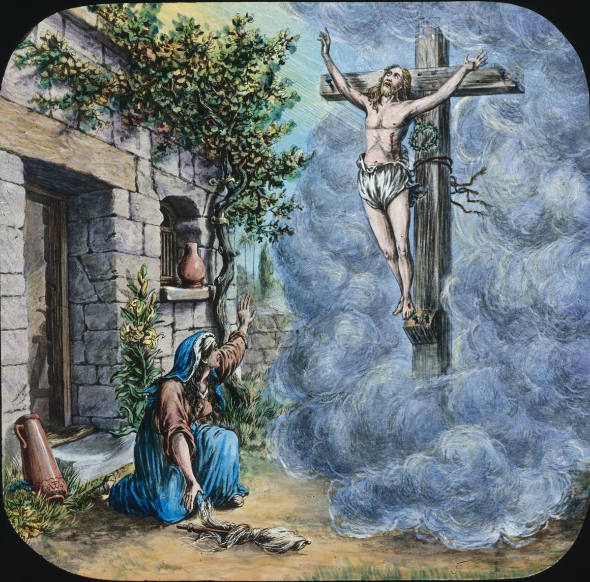 Kolorerad skioptikonbild med religiöst motiv.Uppenbarelse. Jeusu på kordet.