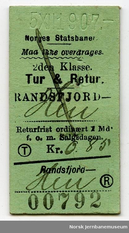 Tur/returbillett Randsfjord-Hen, 2. kl.