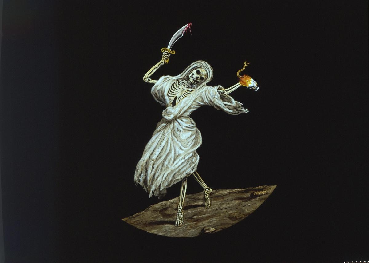 """Skioptikon målad i färg på glasskiva. Motiv av döden: """"At last it biteth like a serpent, and stingeth like an adder""""."""