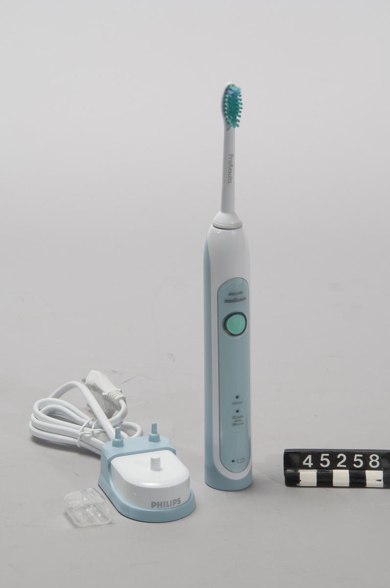 """Elektrisk tandborste Philips Sonicare modelll HX6711/02 märkt HX6710 110905  Med laddare  100-240V ac 50-60 Hz, 0,4-1,4W Obegagnad, i originalkartong  Borste märkt """"Pro Results""""."""