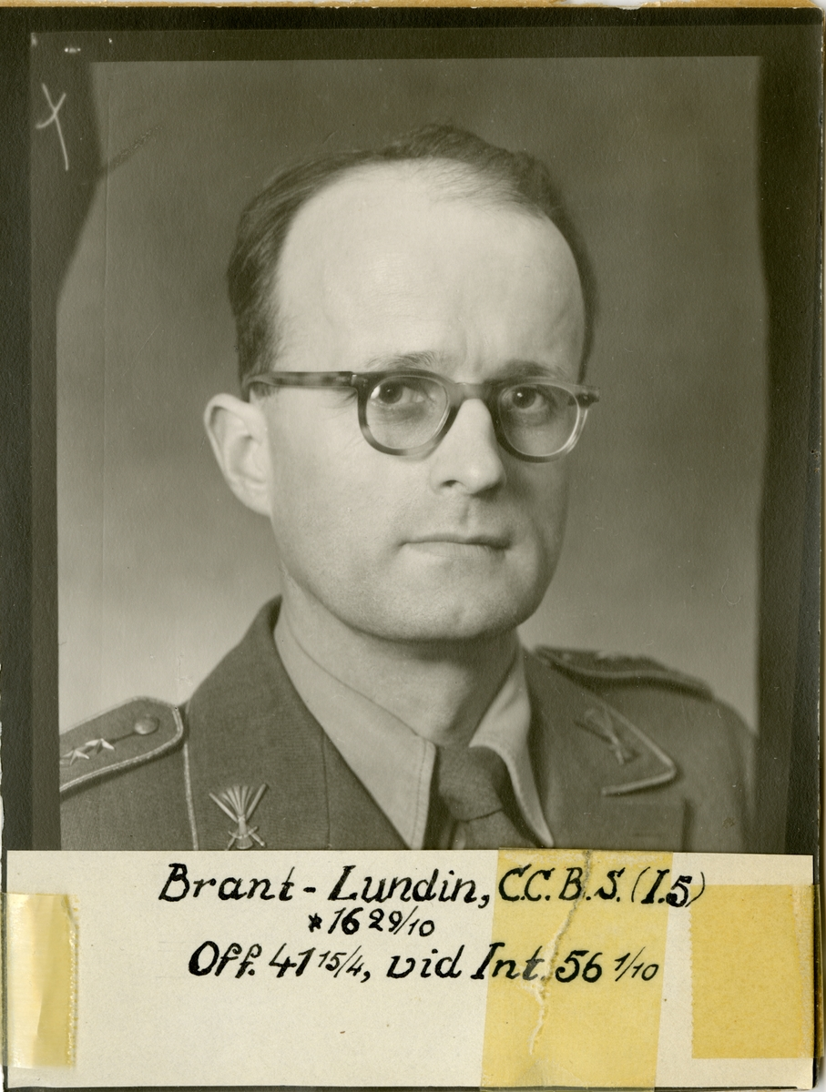 Porträtt av Curt Christer Bernhard Stapelmohr Brant-Lundin, officer vid Värmlands fältjägarregemente I 5 och Intendenturkåren.