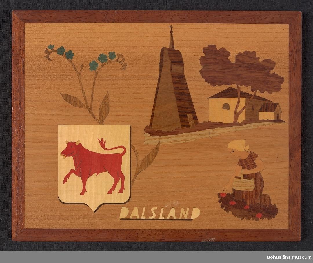 Landskapstavla med namnet DALSLAND med landskapsvapnet, en gående tjur och ikoniska motiv typiska för landskapet inlagda i intarsiateknik av fanér i olika ljusa och mörka träslag. Några bitar är infärgade i rött och grönt. Lackad.  Motiven avbildar blommande förgätmigej, Dalskogs kyrka och klockstapel och en kvinna med korg som plockar röda bär. Intarsian är skuren så att träets naturliga mönster skickligt medverkar till och understryker motivens former och volymer.  Saknar beskrivande etikett av papper på baksidan med text. På baksidan en upphängning.