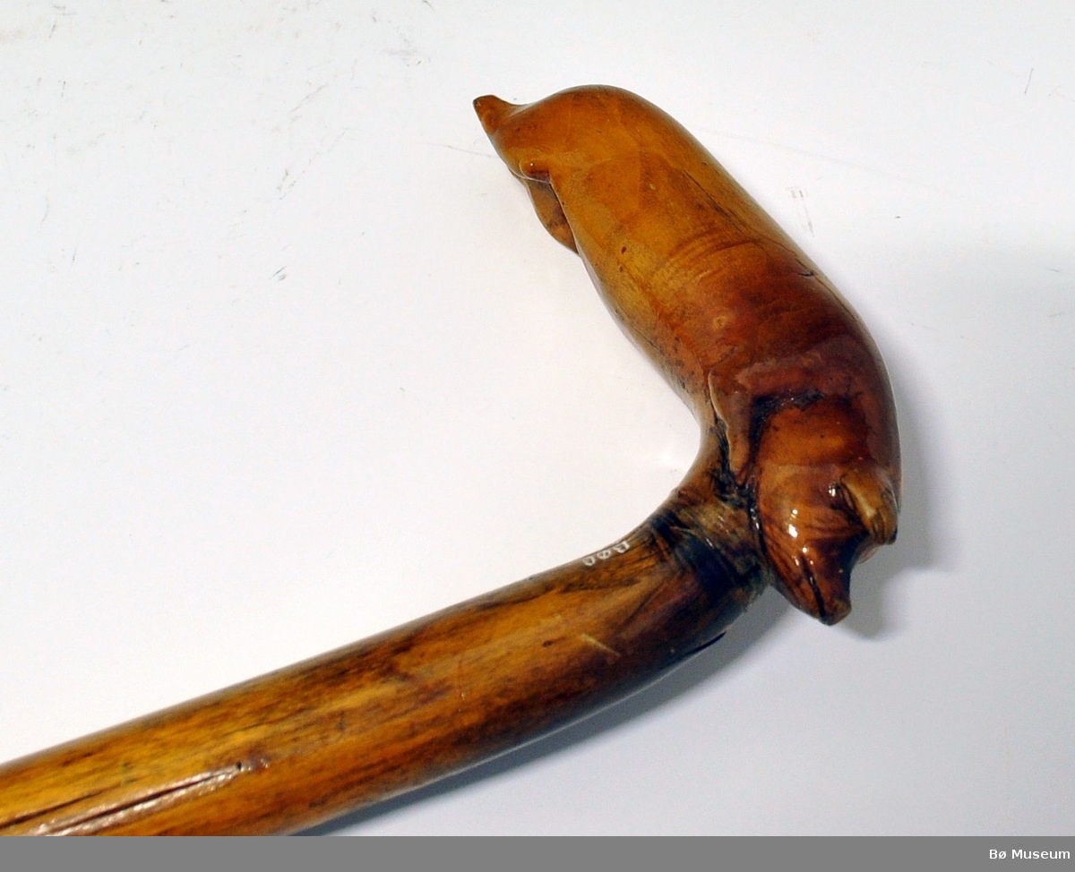 Spaserstokk med buet håndtak. Håndtaket er formet som en gris. Nederst er det skrudd på et metallfeste. Lakket.