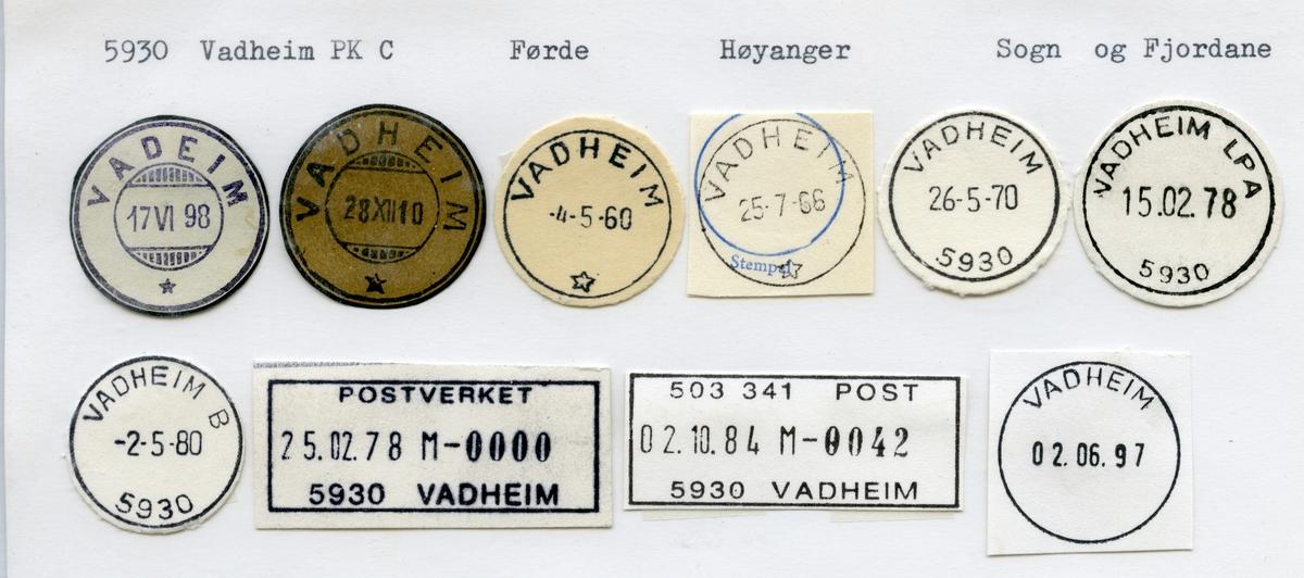Stempelkatalog 5930 Vadheim, Førde, Høyanger, Sogn og Fjordane