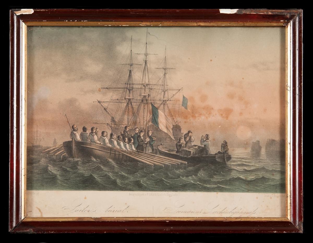 Fartyget i bakgrunden för fransk flagga.